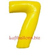 Zahl 7, gelb, Luftballon mit Helium