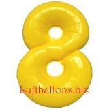 Zahl 8, gelb, Luftballon mit Helium