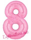 Zahl 8, rosa, Luftballon mit Helium