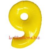Zahl 9, gelb, Luftballon mit Helium