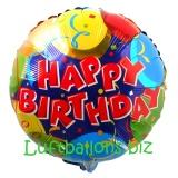 Happy Birthday Ballons und Konfetti, Folien-Rundluftballon mit Helium zum Geburtstag