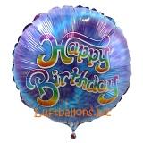 Happy Birthday, blau mit Batikmuster, Folien-Rundluftballon mit Helium zum Geburtstag