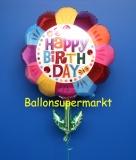 Happy Birthday Blume, Folien-Luftballon mit Helium zum Geburtstag