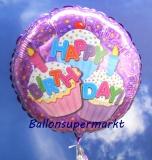 Happy Birthday Cupcakes, holografischer Folien-Rundluftballon mit Helium zum Geburtstag