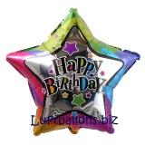 Happy Birthday Stern, bunt, Folien-Sternluftballon mit Helium zum Geburtstag