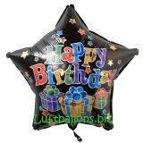 Happy Birthday Stern, Folien-Sternluftballon mit Helium zum Geburtstag