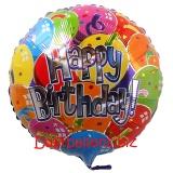 Happy Birthday bunte Ballons, Folien-Rundluftballon mit Helium zum Geburtstag