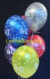 Luftballons, Zahl 40, Metallicfarben, 6 Stück