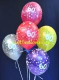 Luftballons, Zahl 60, Metallicfarben, 6 Stück