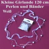 Mini-Girlande zur Hochzeit, Perlen, weiß, Hochzeitsdeko