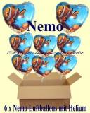 Nemo Herzluftballons mit Helium, Kindergeburtstag Geschenke, 6 Stück