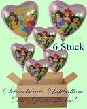 Princess Herzluftballons mit Helium, Kindergeburtstag Geschenke, 6 Stück