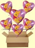 Pooh Herzluftballons mit Helium, Kindergeburtstag Geschenke, 6 Stück