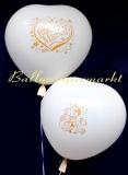 Riesen-Herzluftballons-Hochzeit, 2 Stück, Just Married u. Hochzeitspaar, Weiß, 70 cm