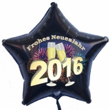 """Silvester-Luftballon aus Folie mit Helium, """"Frohes neues Jahr!"""" 2016"""