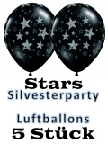 Silvesterparty Luftballons, Stars, 5 Stück