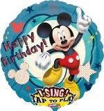 Happy Birthday Musikballon, Folien-Luftballon mit Micky Maus, singender Ballon mit Helium und Helium-Einwegflasche zum Nachfüllen