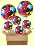Spiderman Rundluftballons mit Helium, Kindergeburtstag Geschenke, 6 Stück