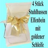 Stuhlhussen zur Hochzeit, Elfenbein mit goldener Schleife, Hochzeitsdeko