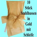 Stuhlhussen zur Hochzeit, Satin, Gold mit Schleife, Hochzeitsdeko