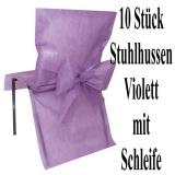 Stuhlhussen zur Hochzeit, Violett mit Schleife, Hochzeitsdeko