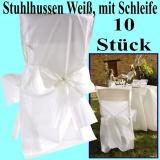 Stuhlhussen zur Hochzeit, Satin, Weiß mit Schleife, Hochzeitsdeko