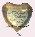 Luftballon zur Hochzeit, Folienballon, Alles Gute zur Hochzeit, Gold, mit Helium