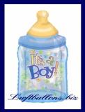 Luftballon zur Geburt eines Jungen, Babyflasche ohne Helium