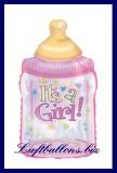 Luftballon zur Geburt eines Mädchens, Babyflasche ohne Helium