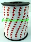 Ballonband 500 m Muster Weiß mit roten Herzen