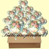 18 Luftballons mit Helium zur Hochzeit, Blumen und Hochzeitsglocken, Folienballone