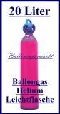 Ballongas Helium Leichtstahlflasche, 20 Liter, Inklusive Abholung