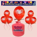 Luftballons Helium Einweg Set, Hochzeit, Just Married Luftballons, Rot, Textfeld und Stift, 25 Stück