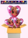 Barbie Herzluftballons mit Helium, Kindergeburtstag Geschenke, 3 Stück