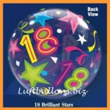 Bubble-Luftballon, Happy 18. Birthday, Brilliant Stars, mit Helium-Ballongas