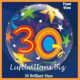Bubble-Luftballon, Happy 30. Birthday, Brilliant Stars, mit Helium-Ballongas