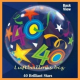 Bubble-Luftballon, Happy 40. Birthday, Brilliant Stars, mit Helium-Ballongas