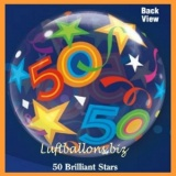 Bubble-Luftballon, Happy 50. Birthday, Brilliant Stars, mit Helium-Ballongas