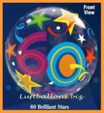 Bubble-Luftballon, Happy 60. Birthday, Brilliant Stars, mit Helium-Ballongas