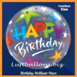 Bubble-Luftballon, Happy Birthday, Brilliant Stars, mit Helium-Ballongas