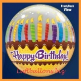Bubble-Luftballon, Happy Birthday, Candles and Frosting, mit Helium-Ballongas