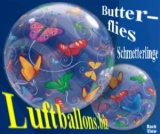 Bubble-Luftballon, Butterflies, Schmetterlinge, mit Helium