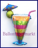 Tropical Cocktail-Glas, Deko-Luftballon aus Folie mit Helium