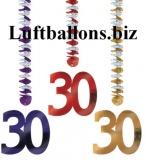Geburtstag-Dekoration, Dangling Cutouts, 30. Geburtstag, Bunt