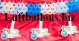 Dekoration zu Geburt und Taufe, Girlande mit Störchen, Blau-Weiß
