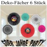 Deko-Fächer-Set, Rock and Roll, 50er Jahre Party Dekoration