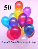 Deko-Luftballons, Kristallfarben, Bunt gemischt, 28-30 cm, 50 Stück