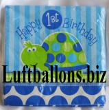 Partydekoration zum 1. Geburtstag, Servietten, Schildkröte, 1st Birthday, 16 Stück