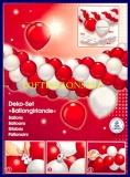 Deko-Set Luftballongirlande, Luftballons in Rot und Weiß