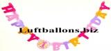 Partydekoration zum 1. Geburtstag, Letter Banner, 1st Birthday, Pink Balloons